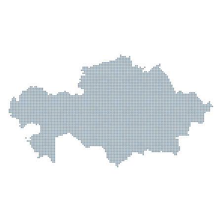 Kazakhstan Map - Vector Pixel Solid Contour. Illustration