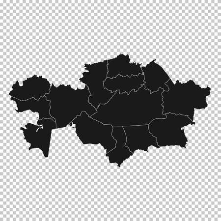 Kazakhstan Map - Vector Solid Contour and State Regions on Transparent Background. Illustration