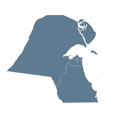 Kuwait Map - Vector Solid Contour and State Regions. Illustration Illustration