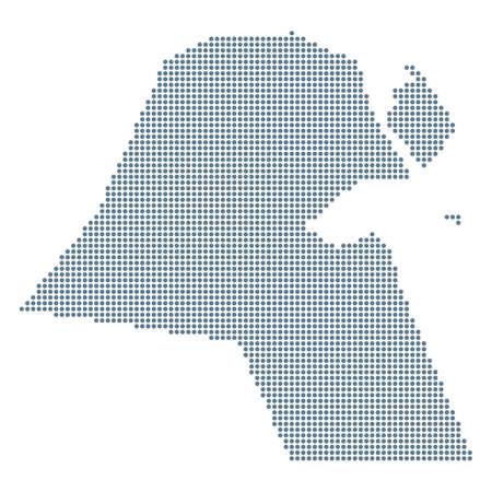 Kuwait Map - Vector Pixel Solid Contour. Illustration Ilustração