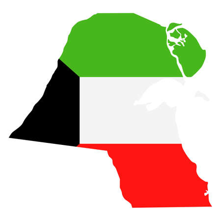 Kuwait Map Flag Fill Background - Vector illustation. Illustration Illustration