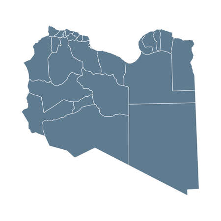 Libya Map - Vector Solid Contour and State Regions. Illustration