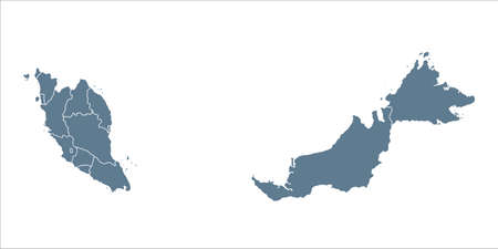 Malaysia Map - Vector Solid Contour and State Regions. Illustration