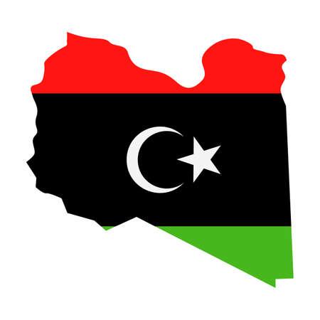 Libya Map Flag Fill Background - Vector illustation. Illustration