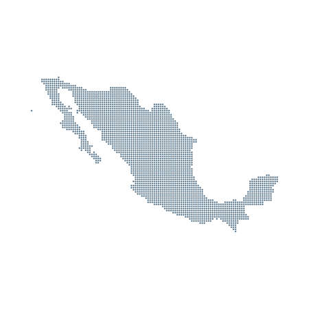 Mexico Map - Vector Pixel Solid Contour. Illustration