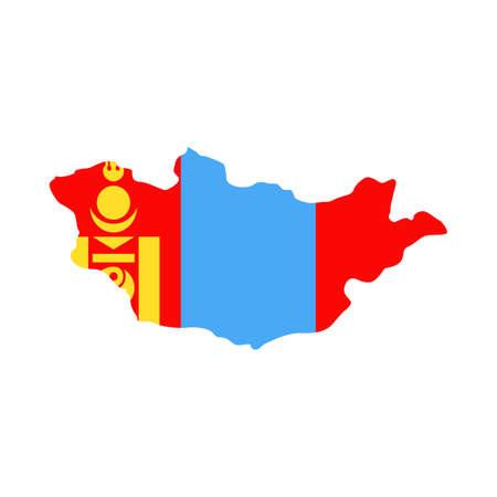 Mongolia Map Flag Fill Background - Vector illustation. Illustration