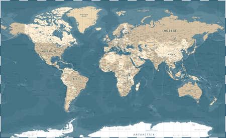 World Map Vintage Political - Vector Detailed Illustration