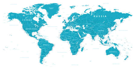 World Map Political - vector. Highly detailed map of the world: countries, cities, water objects