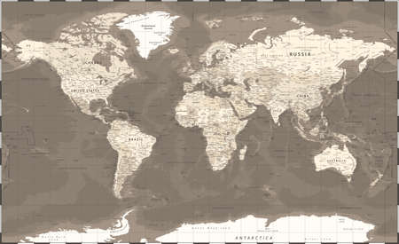 World Map Political - Vintage Retro Old Style - Vector Detailed Illustration - Beige Brown Colored