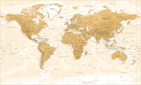 World Map - Vintage Physical Topographic - Vector Detailed