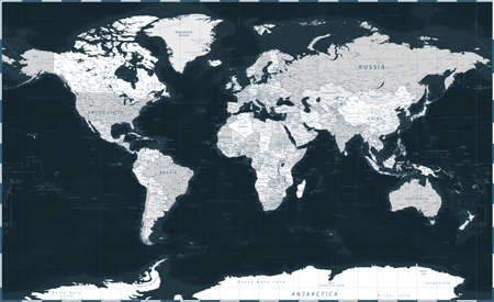 World Map - Dark Black Grayscale Political - Vector Detailed Illustration