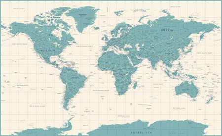 World Map Vintage Political - Vector Illustration - Layers