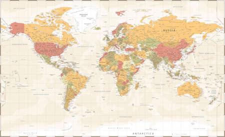 World Map Vintage Political - Vector Illustration - Layers Ilustração