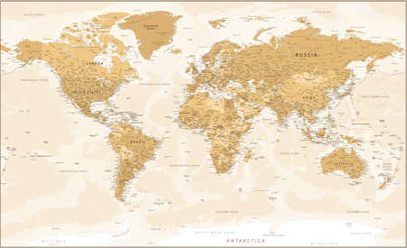 World Map - Golden Vintage Political Topographic - Vector Detailed Layered Illustration