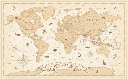 Detailed Vintage Cartoon World Map - vector illustration with layers