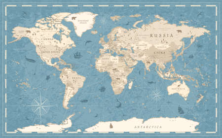 Detailed Vintage Old-Style World Map - vector illustration - blue and beige