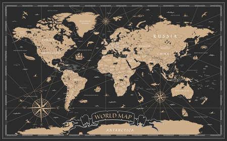 Detailed Vintage Black Golden World Map - vector illustration
