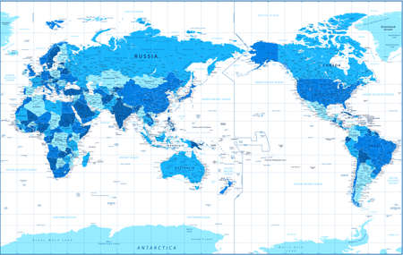 World Map - Pacific China Asia Centered View - Blue Color Political - Vector Layered Detailed