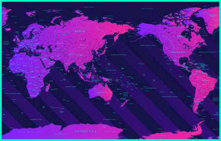World Map Political - Asia China Center - Neon Modern Gradient - Vector Detailed