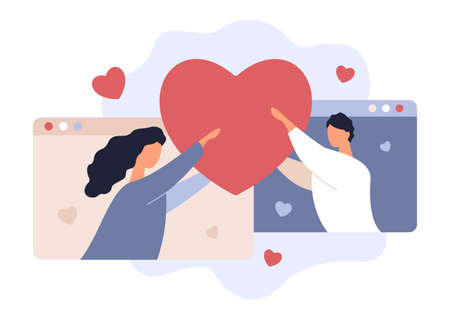 Online Date. Love Rendezvouz. Valentines Day. Young Man and Woman Holding Heart. Girlfriend and Boyfriend. Couple, Hearts and Browsers, Vector Illustration