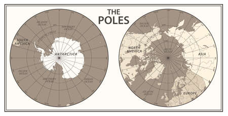 The Poles - North Pole and South Pole - Vector Detailed Illustration Illustration