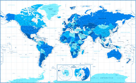 World Map and Poles. Blue and White Color Vector Detailed Illustration Banque d'images