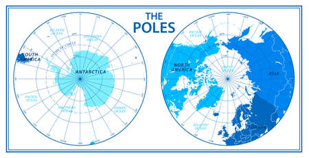 The Poles - North Pole and South Pole - Vector Detailed Illustration. Blue and White