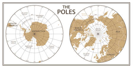 The Poles - North Pole and South Pole - Vector Detailed Illustration. Golden and White