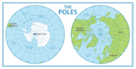 The Poles - North Pole and South Pole - Vector Detailed Illustration.