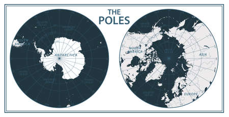 The Poles - North Pole and South Pole - Vector Detailed Illustration. Black and White Illustration