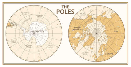 The Poles, North Pole and South Pole. Vector Detailed Illustration. Golden and White Illustration