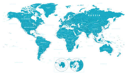 World Map Political and Poles. vector illustration. Highly detailed map of the world: countries, cities, water objects Stockfoto