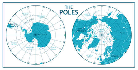 The Poles, North Pole and South Pole. Vector Detailed Illustration. Blue Green and White
