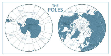 The Poles, North Pole and South Pole. Vector Detailed Illustration. Gray and White