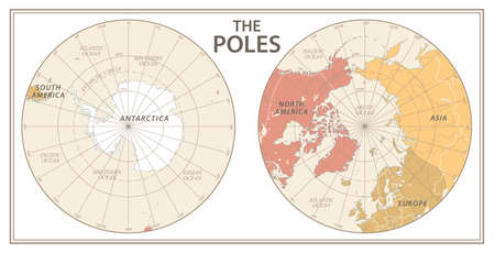 The Poles - North Pole and South Pole - Vector Detailed Illustration. Physical Vintage