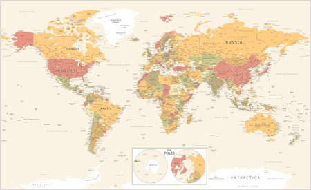 World Map and The Poles. Vector Detailed Illustration Banque d'images