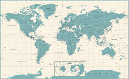 World Map Vintage Political and Poles. Vector Detailed Illustration