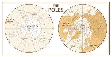 The Poles, North Pole and South Pole Vector Detailed Illustration. Golden and White Illustration