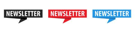 Newsletter - Banner, Speech Bubble, Label, Ribbon Template Set. Vector Stock Illustration