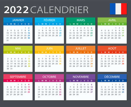 Vector template of color 2022 calendar - French version