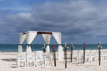 Tropical settings for a wedding on a beach Stock Photo - 8562236