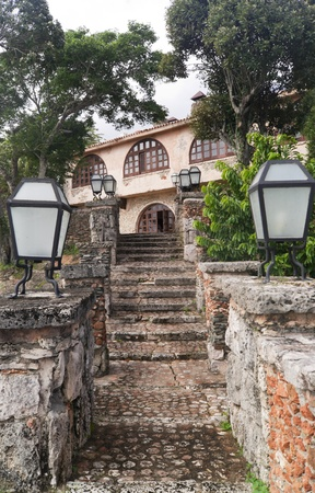 THE OLD STAIRCASE IN SMALL COLONIAL TOWN ALTOS DE CHAVON photo