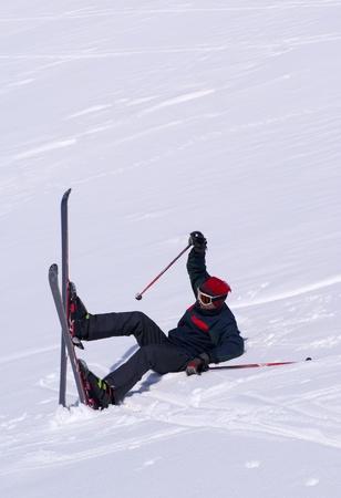 taught man: Young man is learning to ski in Palandoken, turkish ski resort.