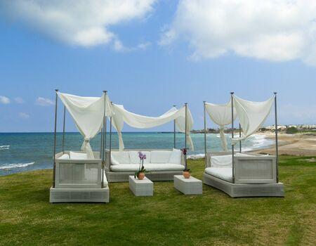 Beach pergola on the mediterranean shore. Stock Photo - 9668306