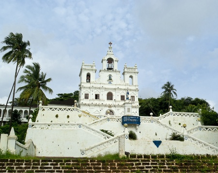 Catholic church in Old Panjim. Heritage of Portuguese colony. Goa. India photo