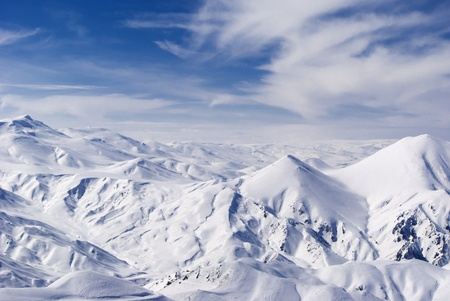 View from mountain Ejder,3,271 m (10,732 ft). Palandoken, turkish ski resort .East Anatolia. photo