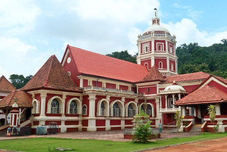 Goa: Shri Shantadurga,famous hindu Temple in Ponda .Goa.The  temple  was built in 1728 AD. This is combination of Indian and Portuguese architecture.