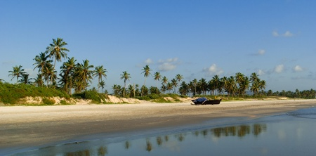 Goa: Panorama of wild beach in South Goa with traditional indian fishing-boat . South Goa. India