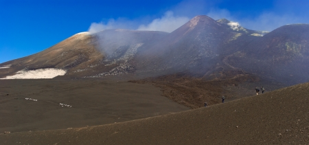 Hiking on the top of Etna,the biggest active volcano in Europe  Sicily  Italy photo