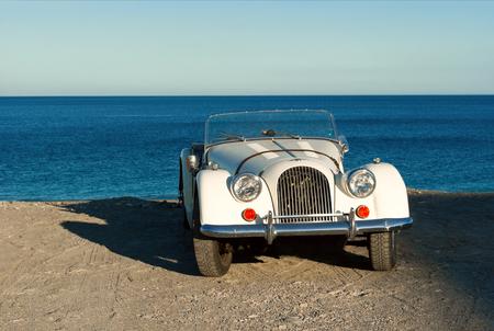 italian sea: Vintage italian car near sea side. Sicily Stock Photo